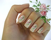 Very Chic Klein Pink Boutique Roses Nail Art Waterslide Water Decals Miniature - fw-019