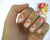 Very Chic Klein Pink Boutique Roses Nail Art Waterslide Water Decals Miniature - fw-020