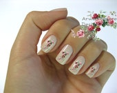 Very Chic Vintage Klein Pink Red Boutique Roses Nail Art Waterslide Water Decals Miniature - fw-022