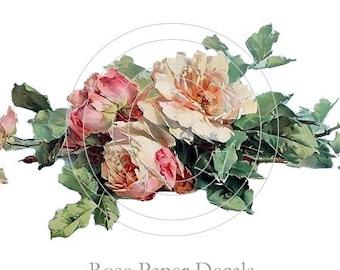 Shabby Vintage Style Pink Cottage Rose Decals De-VF-59