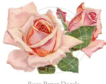Shabby Vintage Style Chic Pink Cottage Rose 8 Decals - De-Ro-16