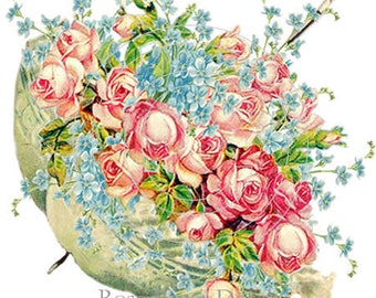 Victorian Chic Shabby Green Parasolful of Roses Decals De-Ro-49