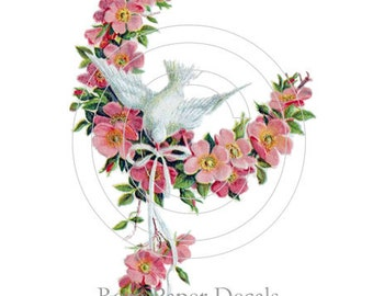 Vintage Shabby Lovely Dove with Wild Pink Roses Decals De-Bd-29