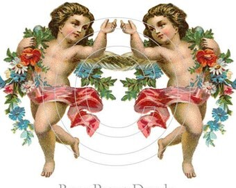 De-VA-39 Decal Vintage Chic Shabby Cherub Angel Decals