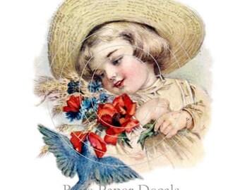 De-VC-60 Chic Shabby Victorian Lil' Girl Rose Blue Bird Decals