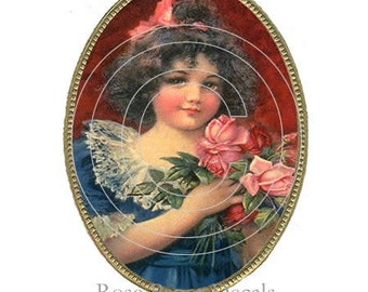 De-VC-12 Vintage Shabby Charm Little Girl Cameo 10 Chic Decals