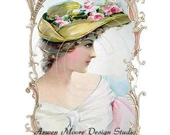 De-VW-25 Shabby Victorian Lady Vintage Chic Decals