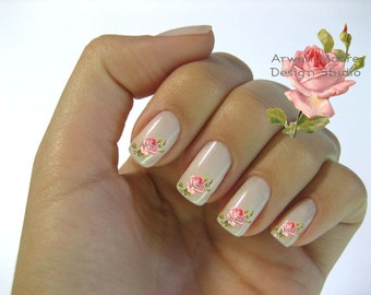 Very Chic Shabby Victorian Pink Vintage Rose Nail Art Waterslide Water Nail Decals Miniature - fw-003