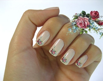 Very Chic Vintage Klein Pink Red Boutique Roses Nail Art Waterslide Water Decals Miniature - fw-021