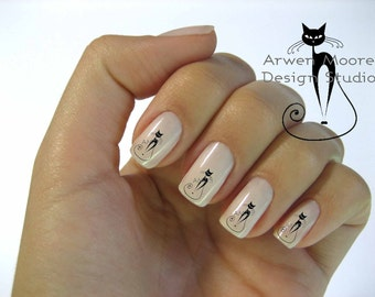 Very Chic Mod Black Cat Nail Art Waterslide Water Decals Miniature - cat-005