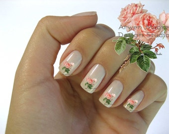 Very Chic Pink Vintage Shabby Roses Nail Art Waterslide Miniture Water Decals - fw-025