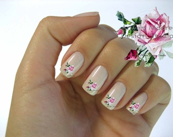 Very Chic Pink Vintage Shabby Roses Nail Art Waterslide Miniature Water Decals - fw-026