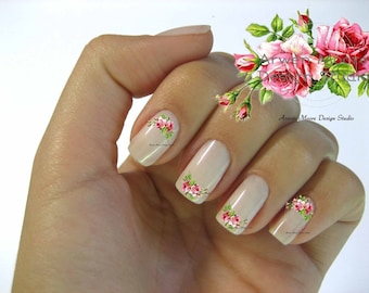 Very Chic Pink Vintage Shabby Roses Nail Art Waterslide Miniature Water Nail Decals - fw-027