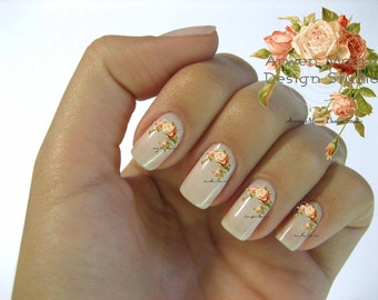 Very Chic Pale Pink Vintage Shabby Roses Nail Art Waterslide Miniature Water Decals - fw-029