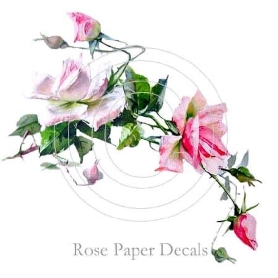 Beautiful Vintage Chic Shabby Pink Roses Spray waterslide water slide Decals Ro-83