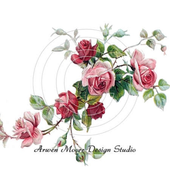Shabby Romantic Shabby Pink Red Roses Chic Decals ro-95