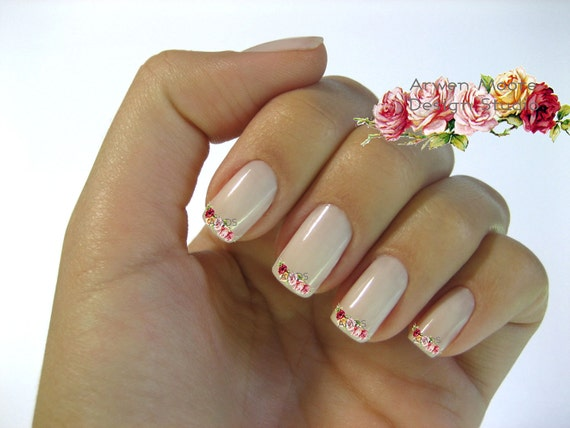 Very Chic Pink Shabby Victorian Vintage Rose Nail Art Waterslide Water Nail Decals Miniature - fw-009