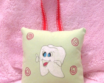 Tooth Fairy Pillow - Smiley Tooth - HAND PAINTED