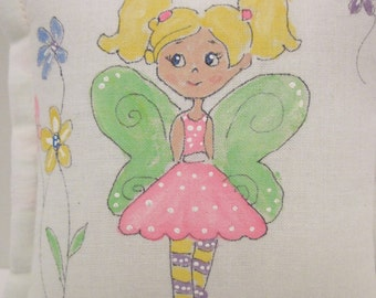 Tooth Fairy Pillow - Girl Fairy with blonde hair  - Hand Painted -  Personalized FREE