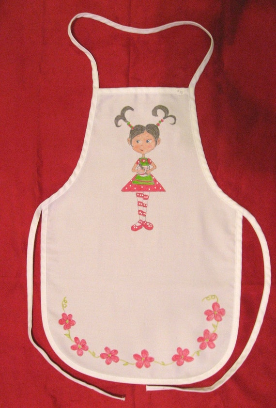 Child's Apron - ON SALE  Hand Painted - Brown Hair - Personalized FREE