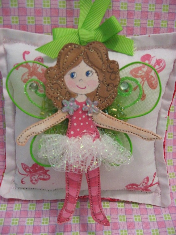 Girl Tooth Fairy Pillow - CUSTOM - Hand Painted - Cloth Fairy -  Personalized FREE