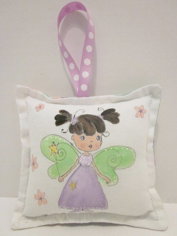 Girl Fairy with dark brown hair - Tooth Fairy Pillow - Hand Painted - Personalize FREE