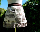 LE ANTIQUE BISTRO mini half apron with french inspired scenes in pale beige with chocolate brown cityscape ruffles and solid choolate band