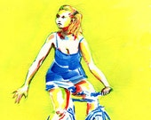 """BICYCLE ART  - Original Painting  -- """"A Look Into The Turn"""""""
