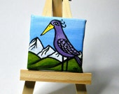Mini painting. Purple bird with a mountain landscape. Tiny 2x2 inch original painting on canvas.