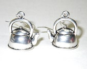 Teapots.  Antique silver coloured teapot earrings.
