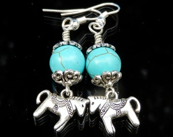 Turquoise earrings with little Horses. Little Horse earrings. Handmade earrings. Gift for her. Jewelry for horse lovers.