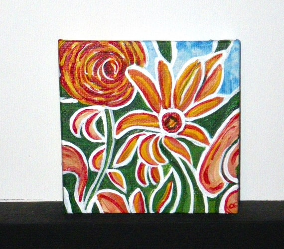 Summer flowers. Mini painting. An original painting on a little canvas 2 3/4 x 2 3/4 inches