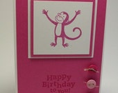 Pink Monkey Birthday Card by Spring Blossom Design