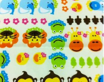 CLEARANCE Kawaii Anime Fabric Brand New Zoo Zoo Pets in Snow, 1 yd