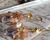 SALE Apricote NUDE 24k gold vermeil earrings with pink amethyst and Topaz was 140 now 75