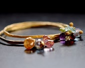 SET of two Bangles adorned with Gemstones in gold vermeil
