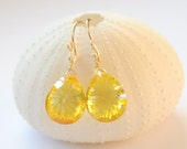 Bespoken for Katherine -Brilliant Lemon Yellow Sapphire drop earrings and gold fill hand made  ear wires
