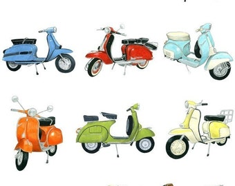 12 Retro Scooters - Archival Print
