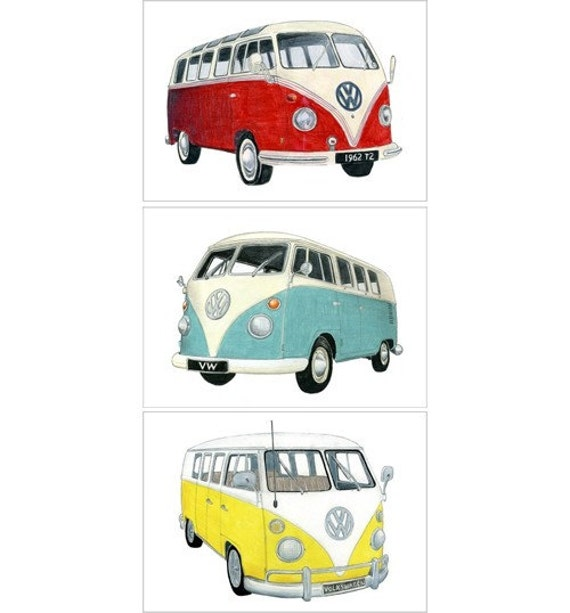 3 VOLKSWAGEN CAMPER DRAWINGS - Limited edition print set