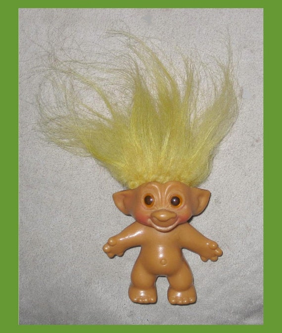 Rare 60s Wishnik Troll Doll With Buttercream Mohair By