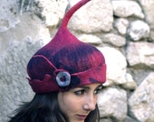 felt Pixie style hat handmade in France Rose