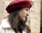 red felt beret style hat handmade in France ruby
