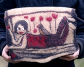 felt leather cotton red hearts handmade bag  purse Made in France by jannio on Etsy helen and her bird
