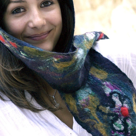 RESERVED felt and silk scarf handmade in France  Jenny