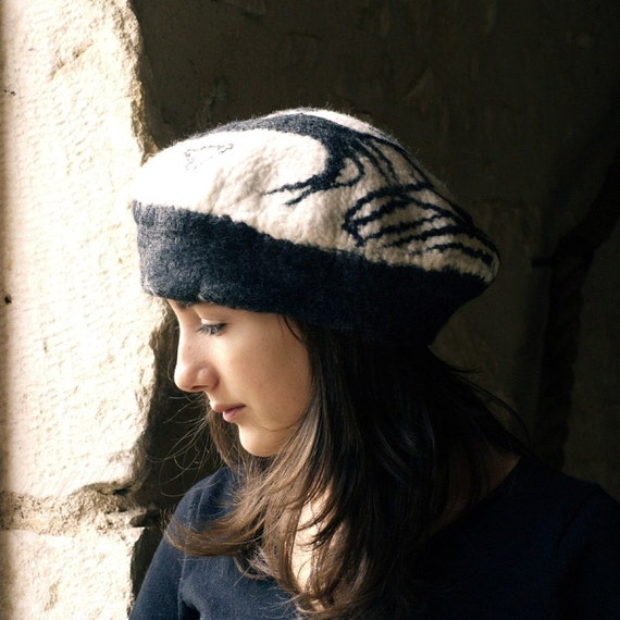Black and White felt French beret style hat, merino wool, wet felted, handmade in France clara