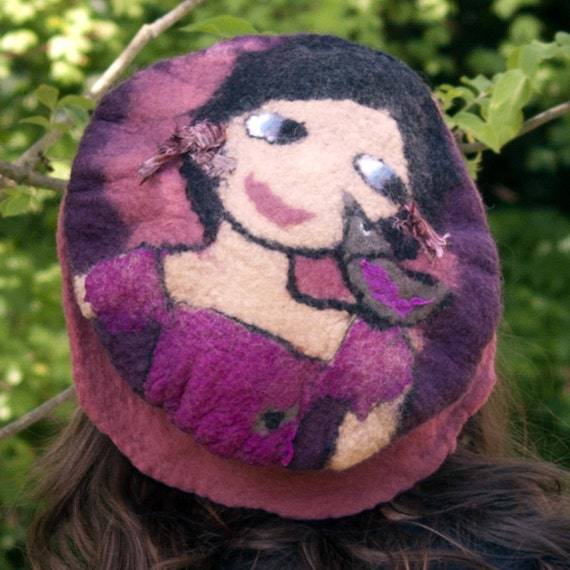 felt hat french beret style made with merino wool   Sally and her bird