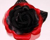 Black RED ROSE Rockabilly PinUp Hair Flower Hair Clip or Brooch Psychobilly