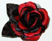 Hair Clip Red Black Rose Hair Accessory  Gothic Sexy Steampunk Burlesque Flower Pinup