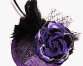 Halloween Witch Hat Purple Black Feather Fascinator Cocktail hat Burlesque Steampunk - -  SALE  - -