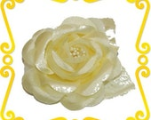 Canary Yellow Rose Flower Hair Clip Pale Yellow Wedding Bridal Bridesmaid Head piece or Brooch